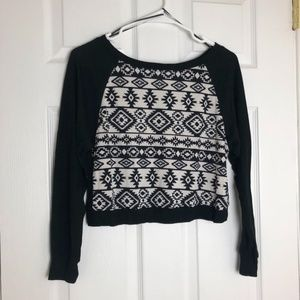Ambiance Apparel Black White Tribal Crop Sweater